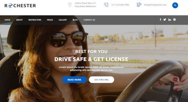 rochester drag and drop page builder wordpress theme
