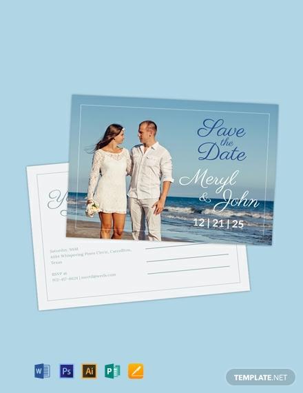 romantic wedding save the date postcard