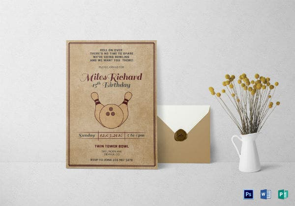 rustic corporate bowling birthday invitation template