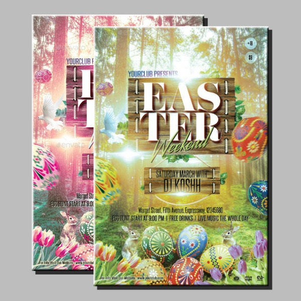 Rustic Easter Weekend Poster Template