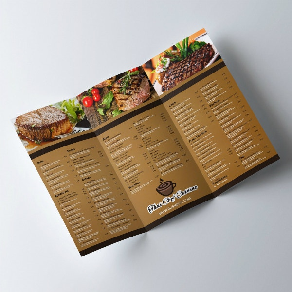 rustic restaurant menu brochure example