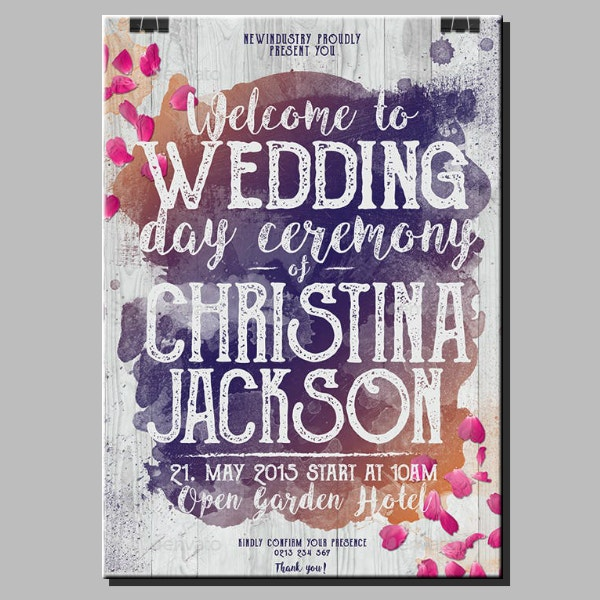 Rustic Typographic Wedding Poster Layout