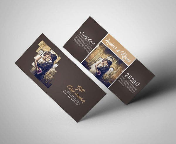 rustic wedding invitation gift voucher template