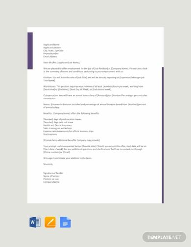sales job offer letter template1