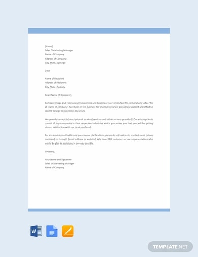 sales letter template for promoting a service