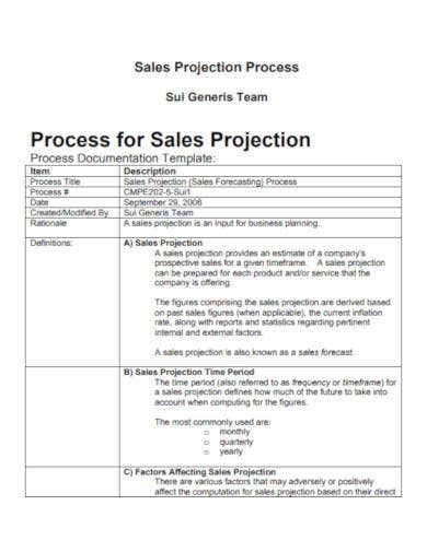 sales projection process sample