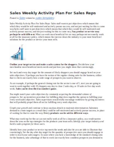 sales weekly activity plan