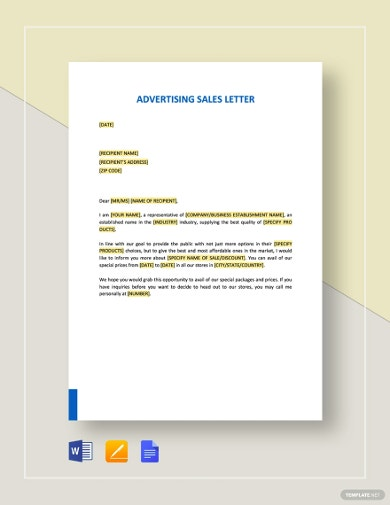 sample advertising sale letter