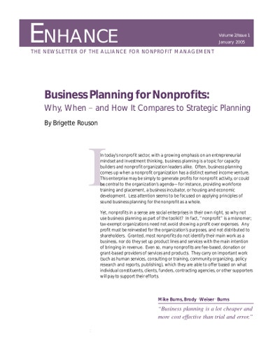 sample business plan for nonprofits