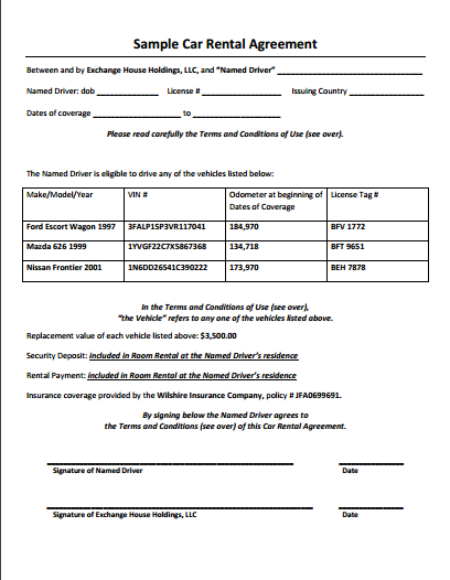 5 Car Rental Agreement Template Google Docs Ms Word