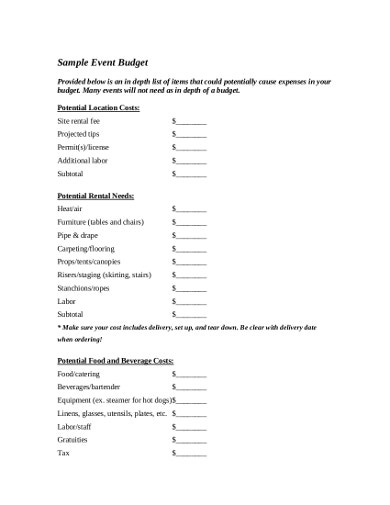 sample catering event budget