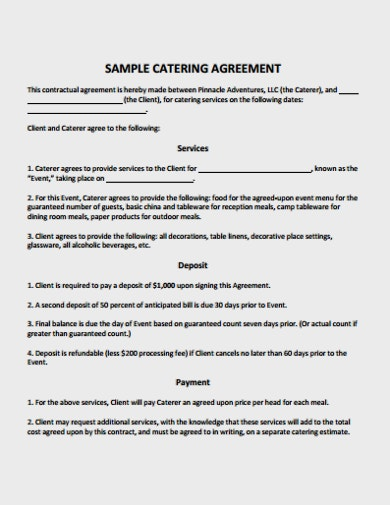10 Catering Service Agreement Template Pdf Free Premium Templates