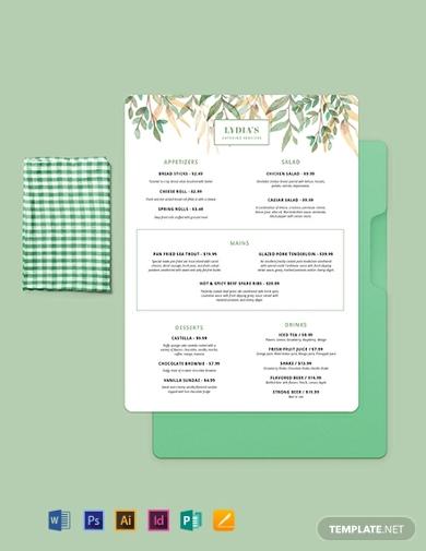 sample catering service menu tamplate