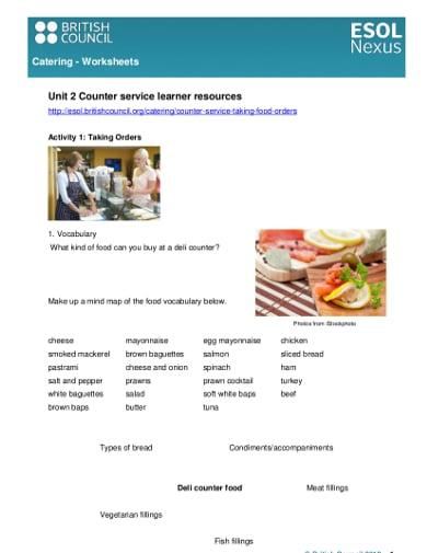 sample catering worksheet
