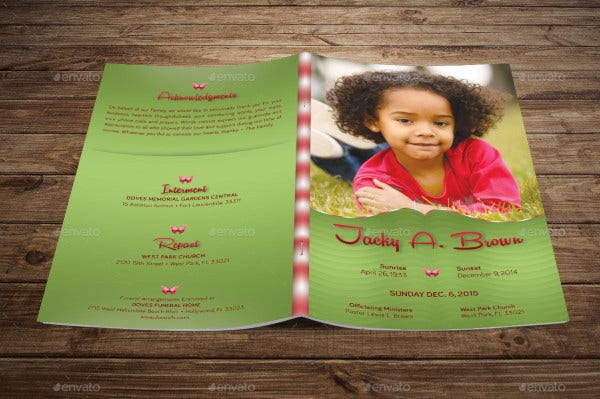 sample child funeral program template in psd