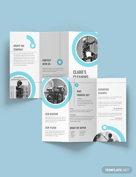 sample cleaning company tri fold brochure