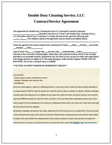 sample contract cleaning service agreement