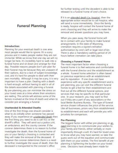 sample funeral planning template