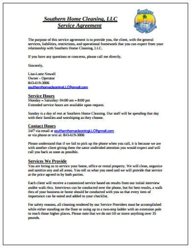 sample home cleaning service agreement