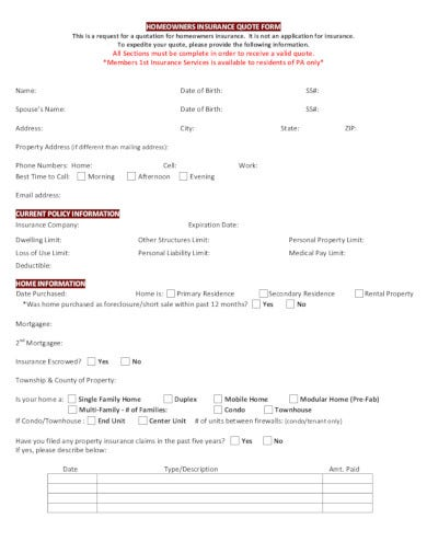 sample homeowners insurance quote form