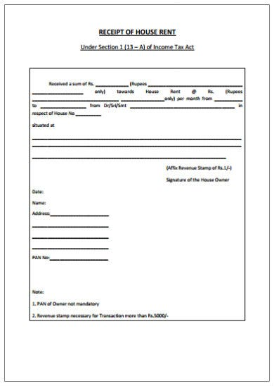 sample house rent receipt template