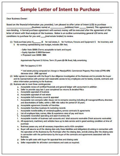 sample letter of intent to purchase template