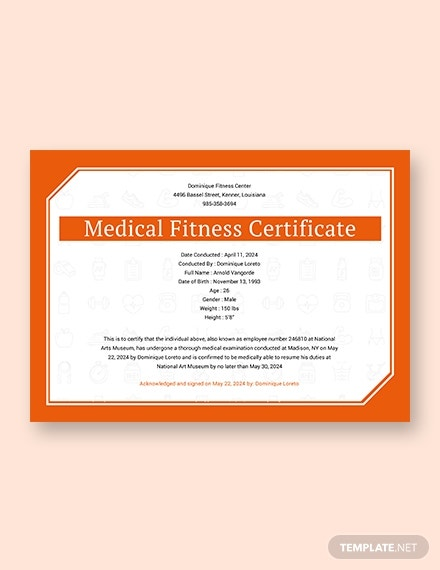 sample medical fitness certificate template