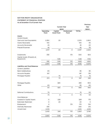 sample nonprofit financial statement template