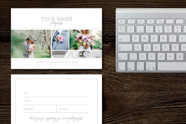 sample photography gift card templates