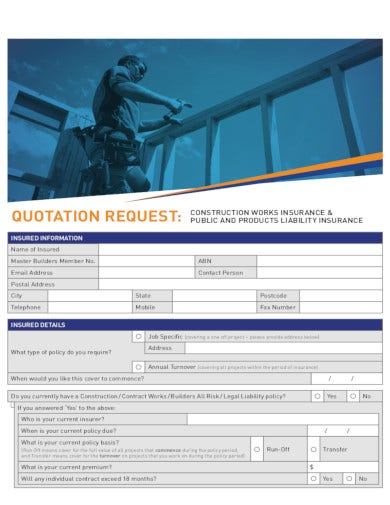 sample quotation insurance form