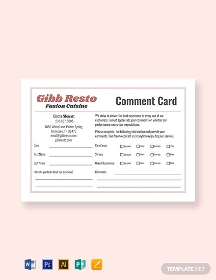 sample resto comment card template