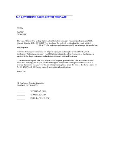 sample sales letter for advertising