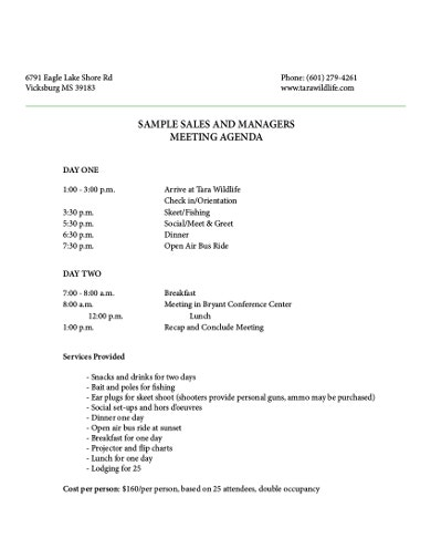 sample sales and mangers meeting agenda