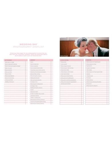 sample wedding photography shot list