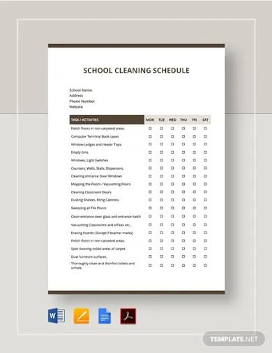 school cleaning schedule template1