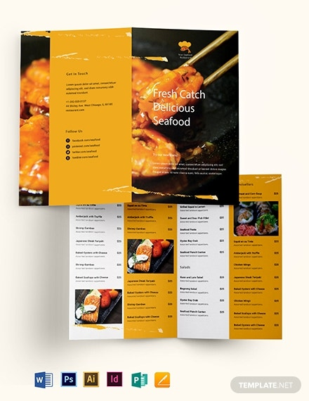 seafood restaurant bi fold brochure example