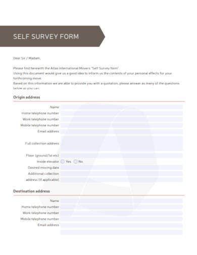 self survey form template in pdf