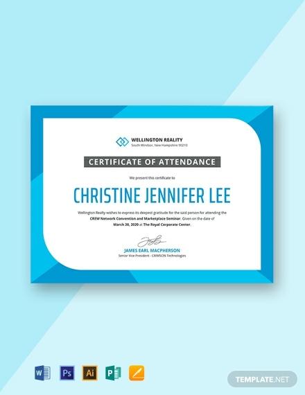 seminar attendance certificate template