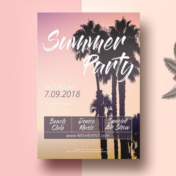 silhouette beach party flyer template