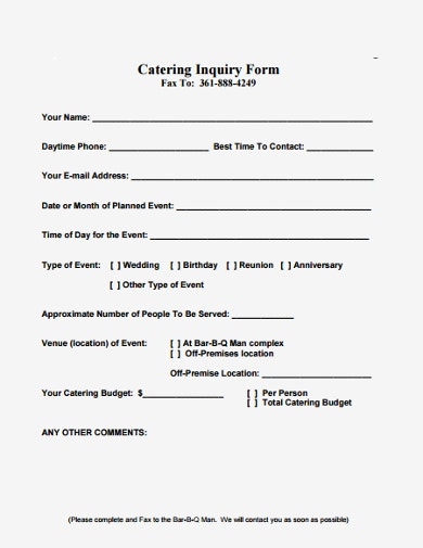 simple catering enquiry form