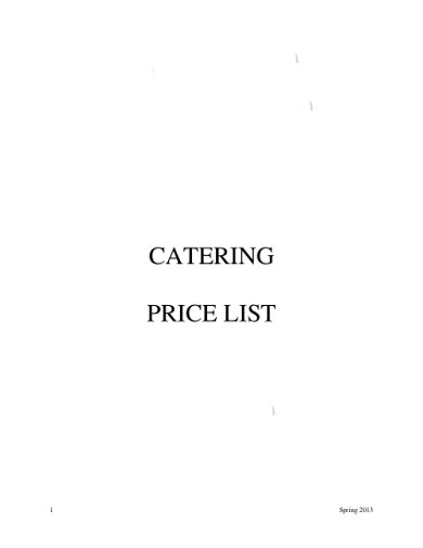 simple catering price list