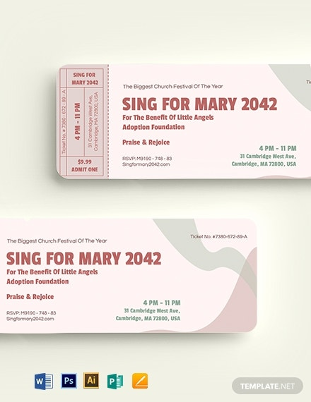simple church fundraising ticket layout