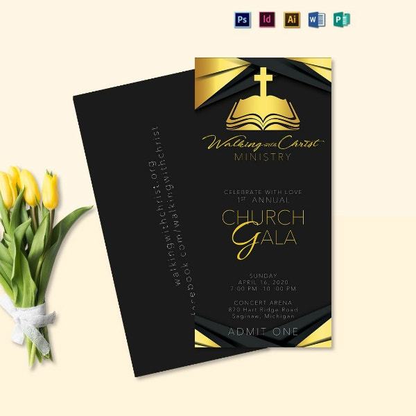 simple church gala ticket sample