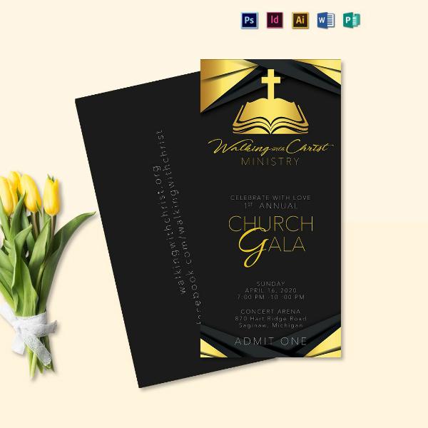 simple church gala ticket sample