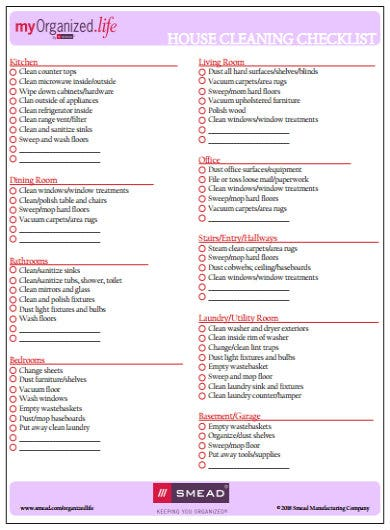 simple cleaning checklist