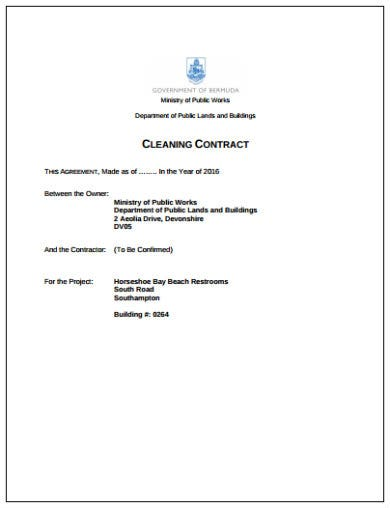simple cleaning contract