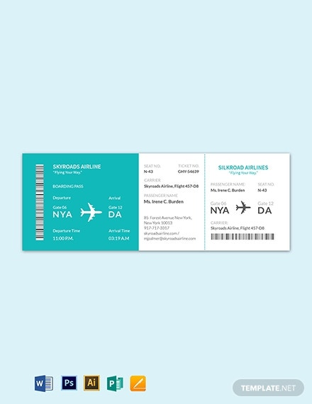 simple editable airline ticket layout