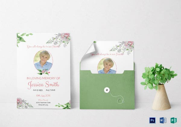 simple funeral program invitation template