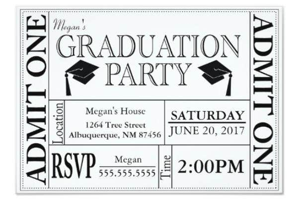 simple graduation party ticket