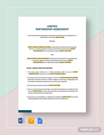 10 Limited Partnership Agreement Templates Pdf Word